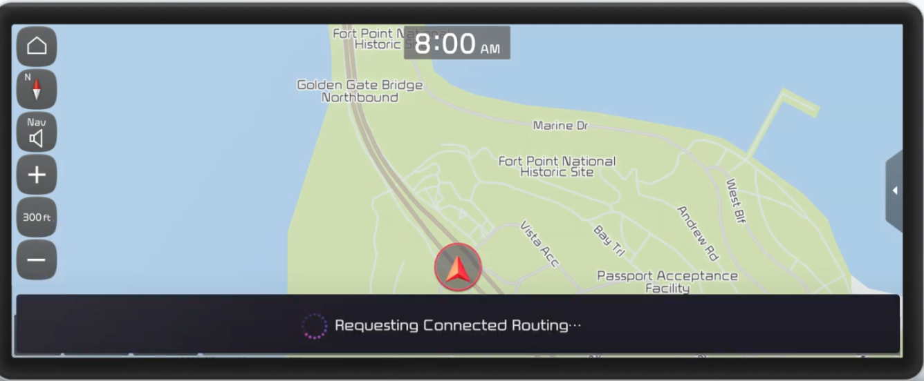 Map view with an arrow indicating where a user is currently located with a loading icon at the bottom of the page indicating that an address is being loaded