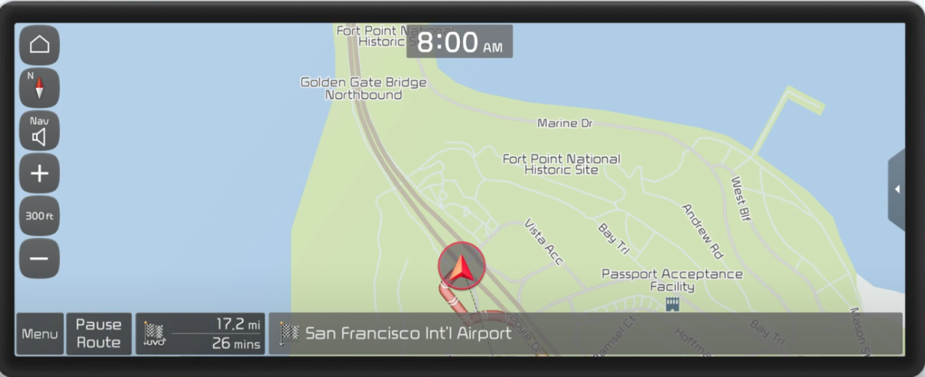 Turn by turn guidance with map view, the journey highlighted and option to pause route