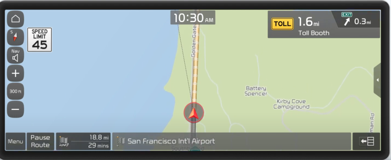 Map view with turn by turn guidance with the journey highlighted and an arrow indicating where a user is on their journey