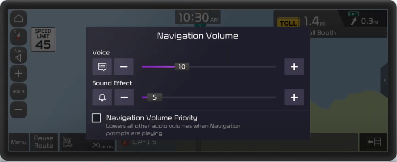 Pop-up where a user can adjust navigation volume settings through sliders