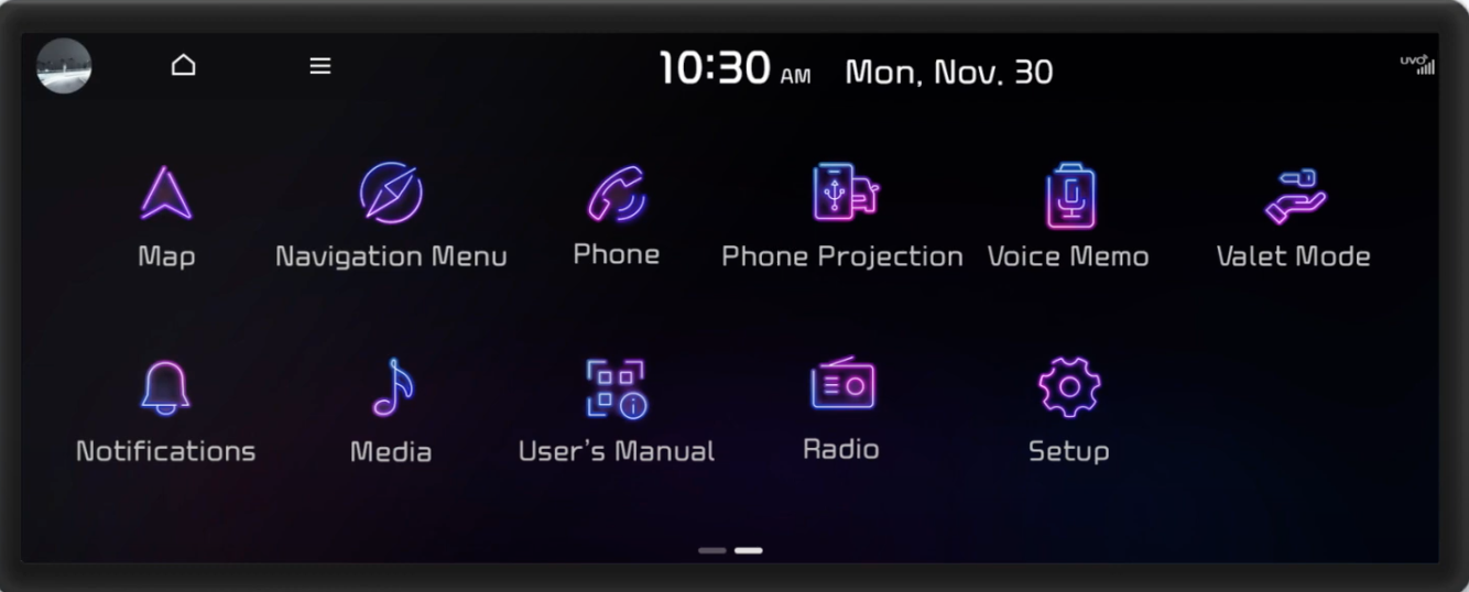 Various apps that are on the infotainment system displayed as a gallery of icons
