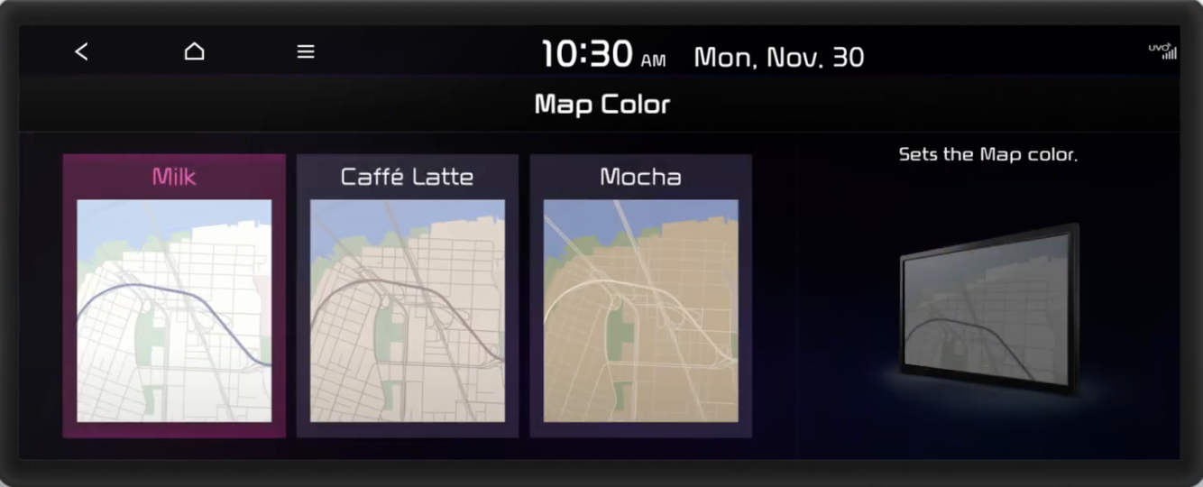 Choosing map color from three options displayed as a gallery with an illustration of a screen with a map view on the side