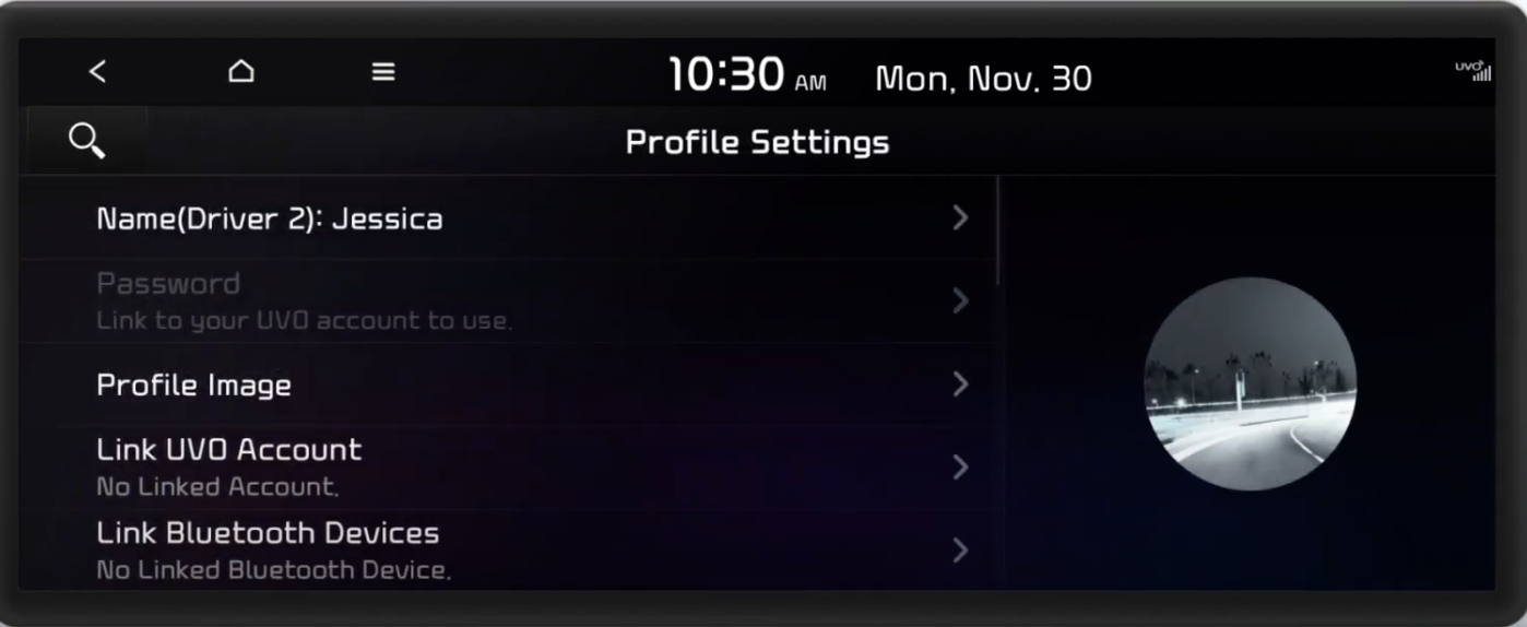 List of user profile settings with a round profile image on the side