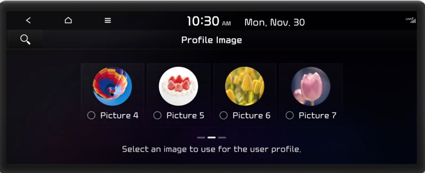 Choosing a user profile pic from a gallery of options