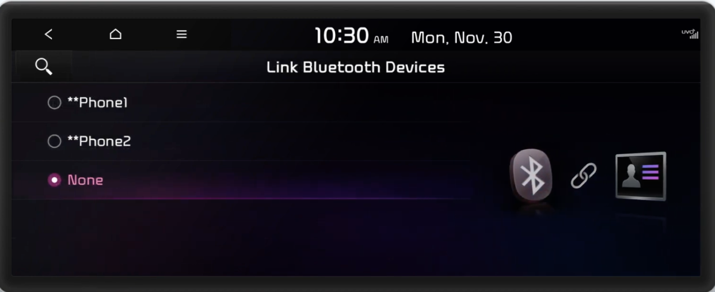 Linking a Bluetooth device to a user profile by choosing a paired phone from a list