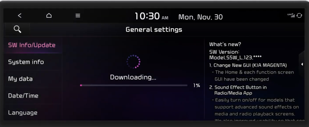 Within the general settings the update option selected with a downloading icon and a process bar