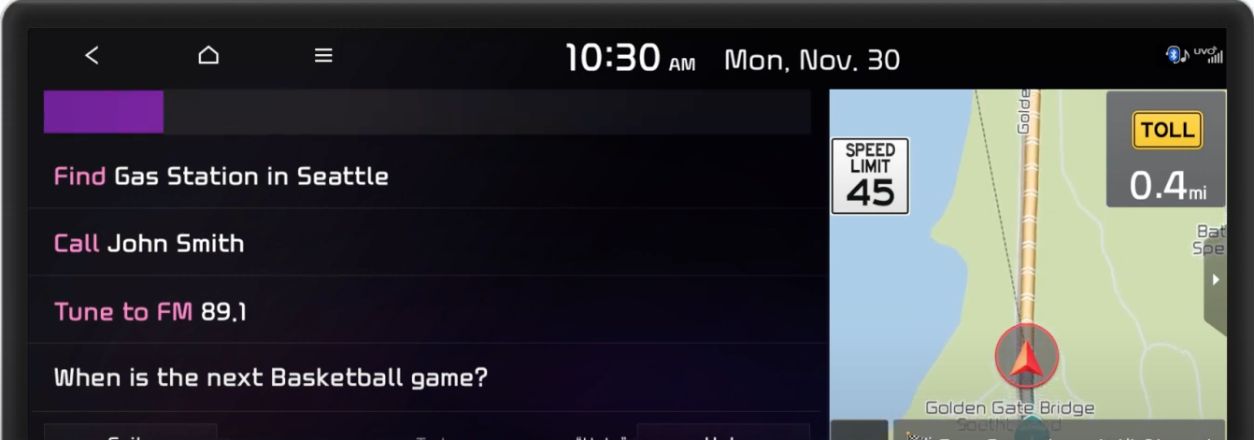 Voice assistant listening indicated by a colored bar at the top of the screen with a map view on the side