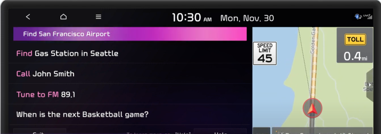 Voice assistant processing a command indicated by a full colored bar at the top with a map view on the side