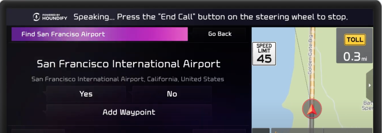 Voice assistant processing a command and showing options to add the airport as a waypoint with a map view on the side