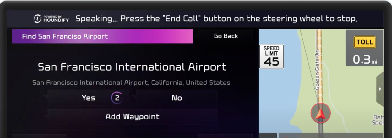 After the voice assistant has processed a command a user has to make a choice between two options given, the chosen option has a colored outline
