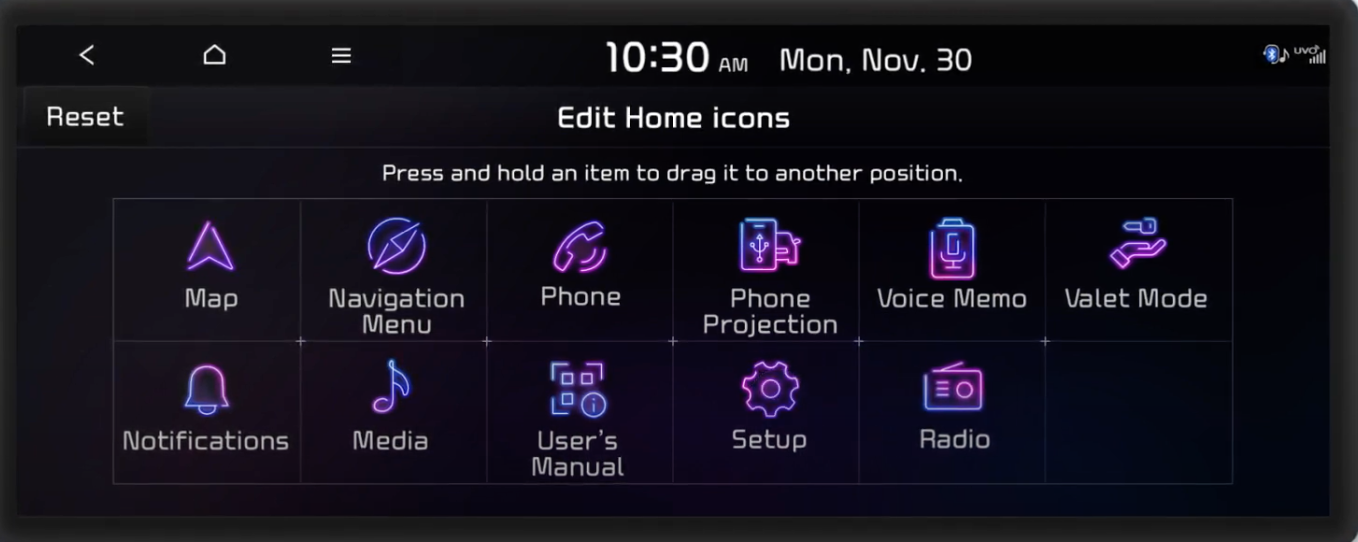 Editing home icons by pressing and dragging icons to desired locations