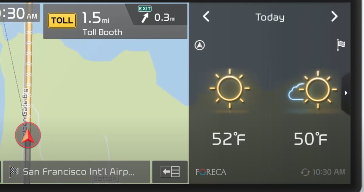 Weather information with icons next to a map view