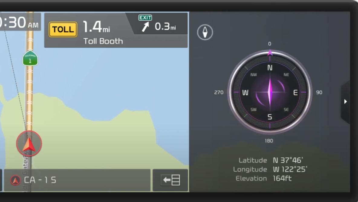 Compass next to a map view