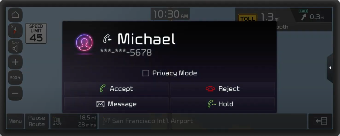 Pop-up for an incoming call with the options to accept, reject, message and hold
