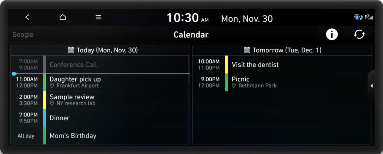 Full calendar view with color codes separated into two parts, today's and tomorrow's schedule