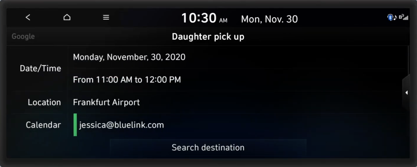 A calendar invite shown in full screen with location, date and time and option to search the destination related to the event