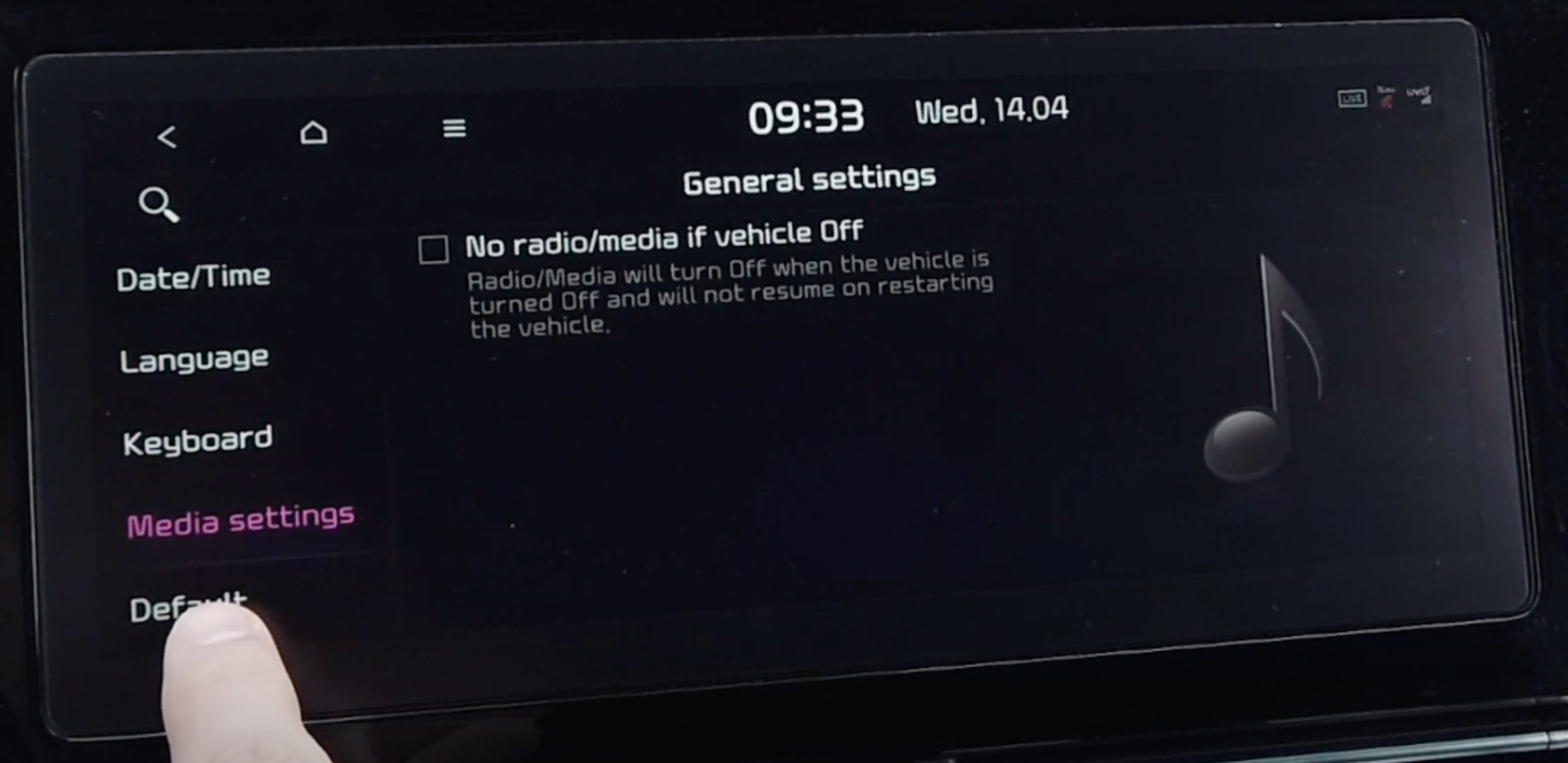 Turning on and off the feature to automatically turn media off when vehicle is off