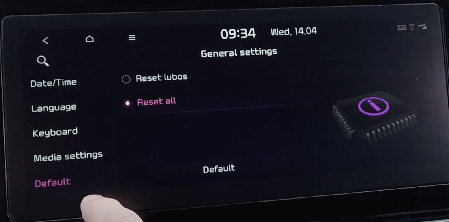 Option to reset all the general settings