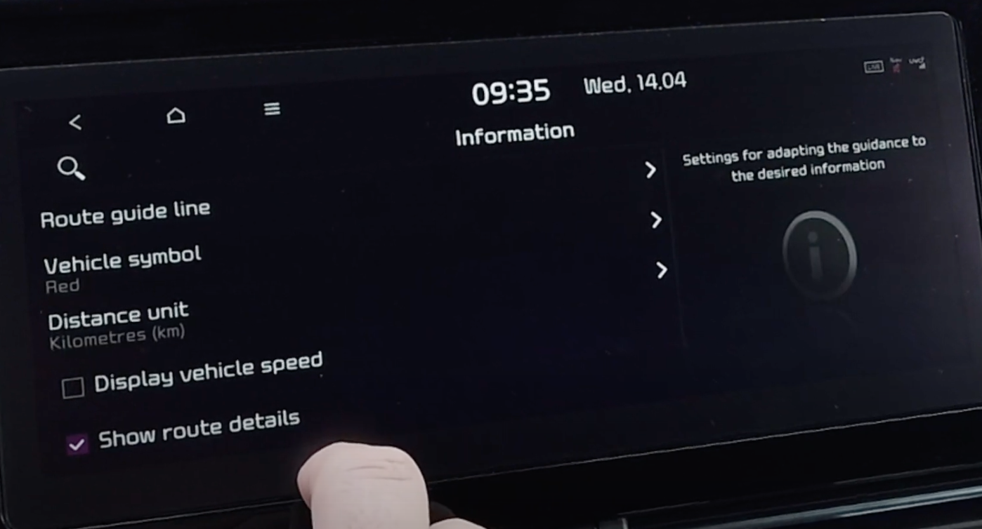 List of various settings for the navigation such as route guide line and speed units