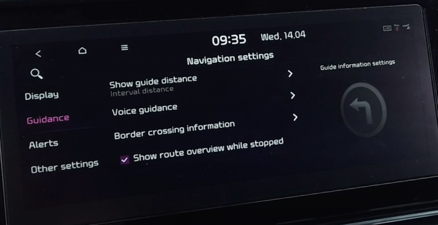 From a list of navigation settings the guidance option selected with a detailed list of settings