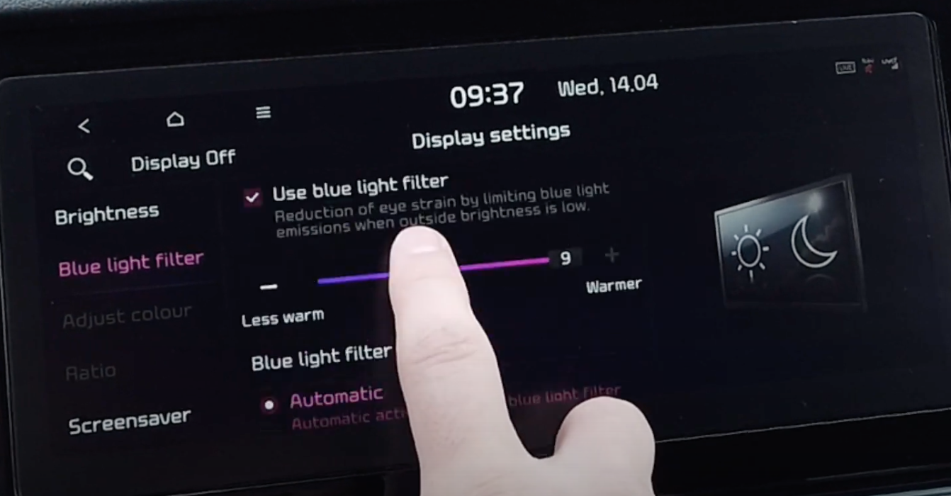 List of display settings such using a slide to arrange the blue light filter with an illustration of a display on the side