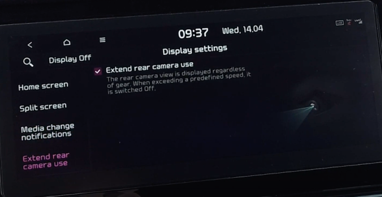 Turning on and off the feature to extend rear camera use from the display settings