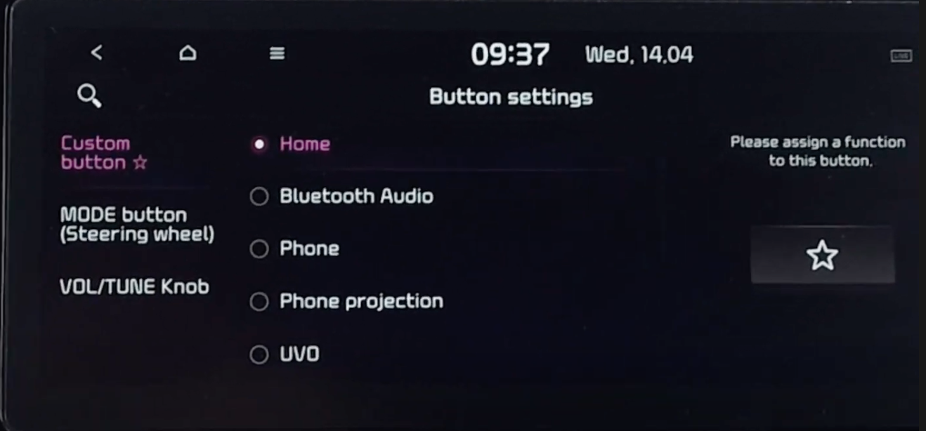 Assigning custom commands for a specific button displayed on the screen