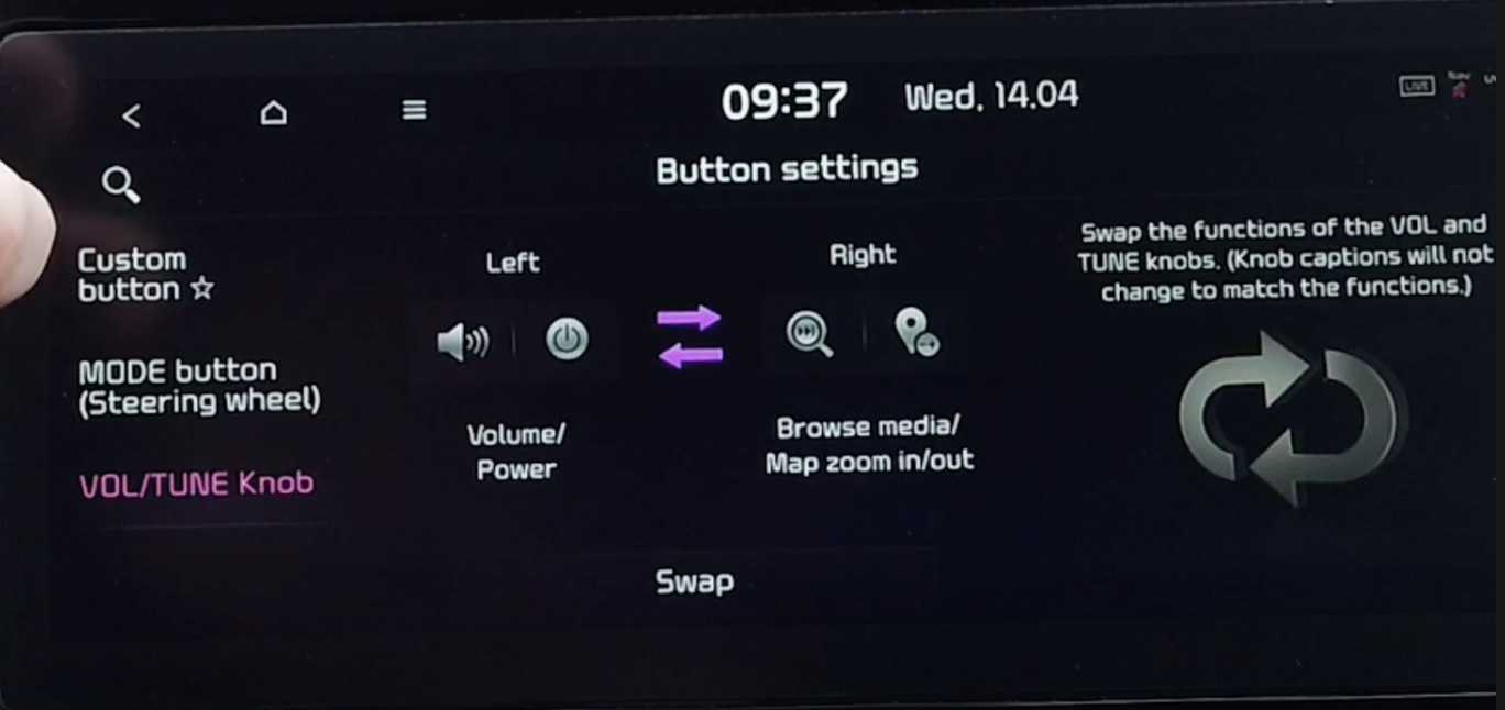 Adjusting the button settings for the volume dials and knobs