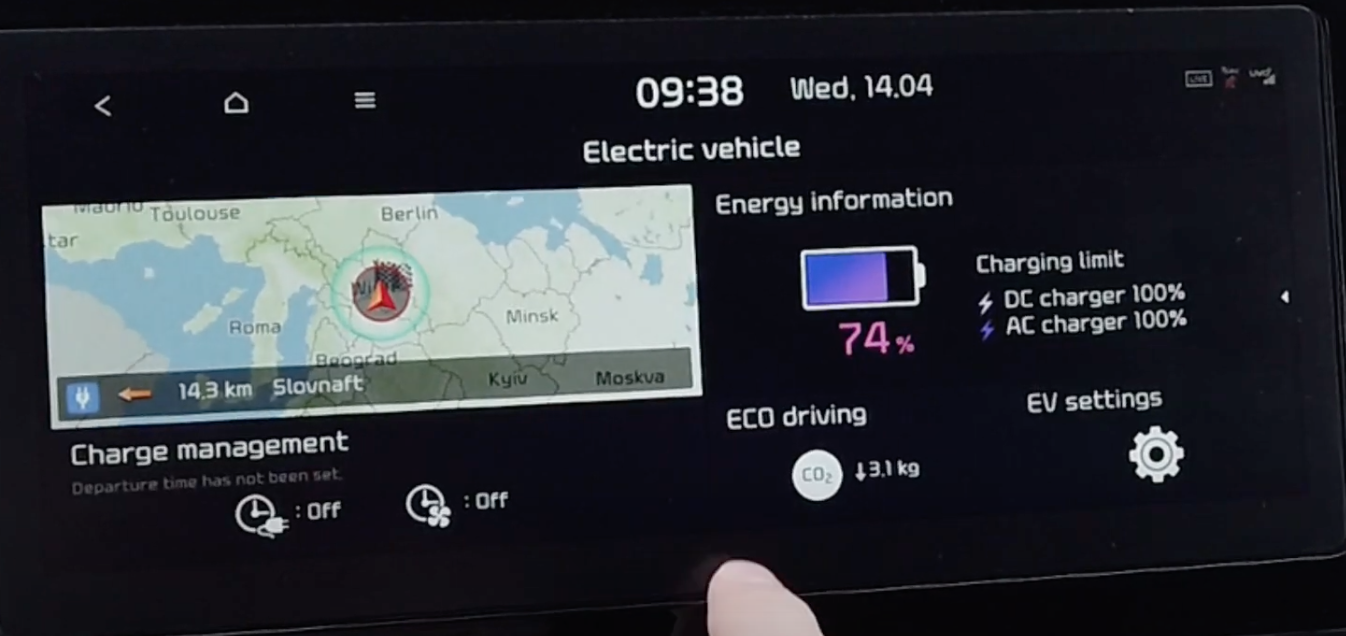 Information about the electric vehicle such as power left, eco driving and settings
