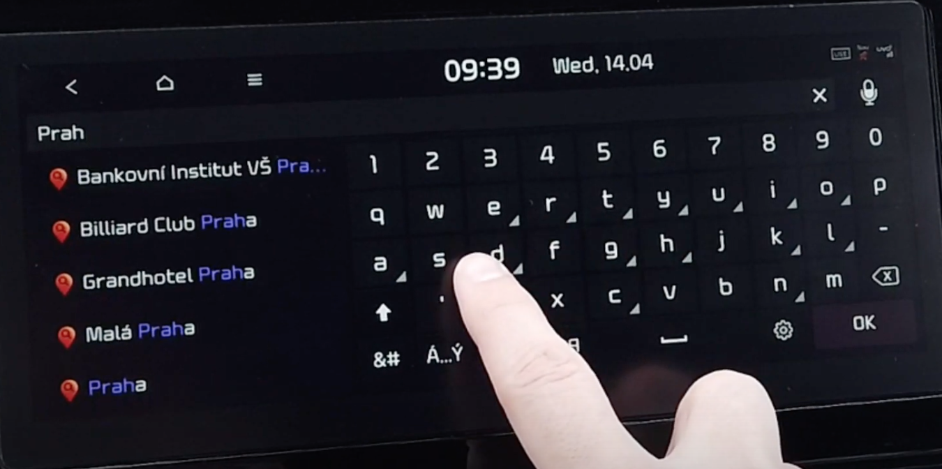 Digital keyboard to input an address to with search results appearing on the side