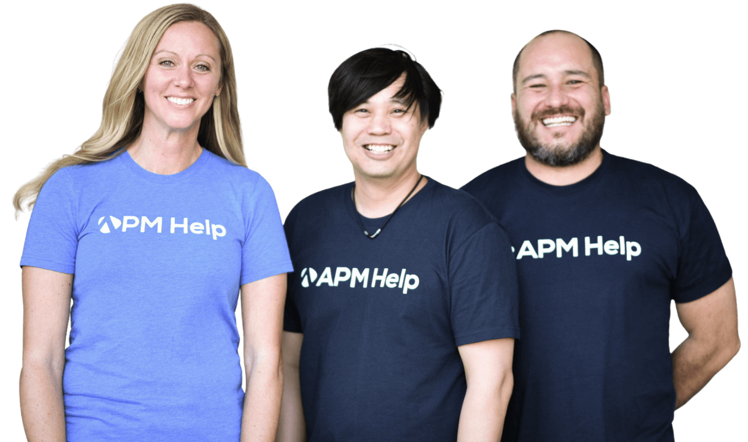 a group of APM Help employees smiling