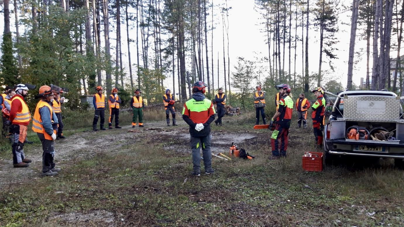 Corso di taglio e allestimento legname: la prima uscita ufficiale dei nuovi istruttori qualificati con il progetto For.Italy