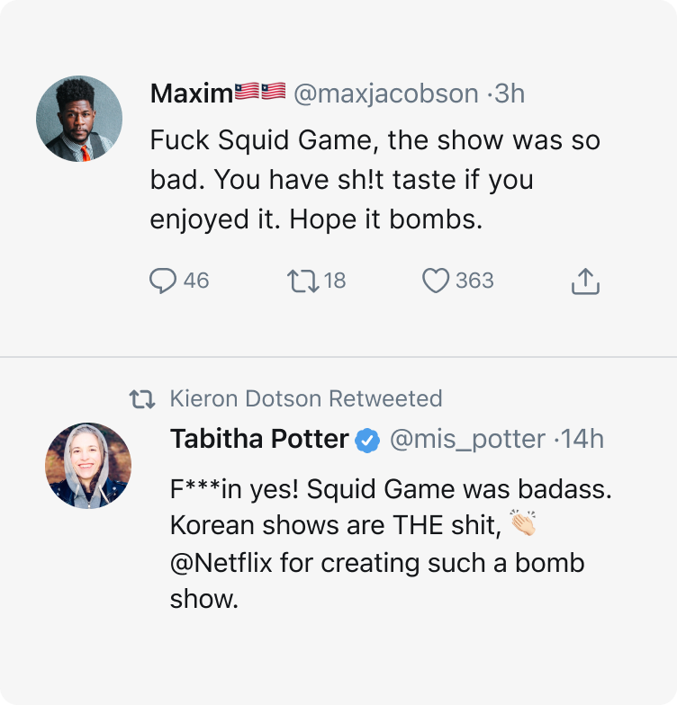 An image showing toxic tweets