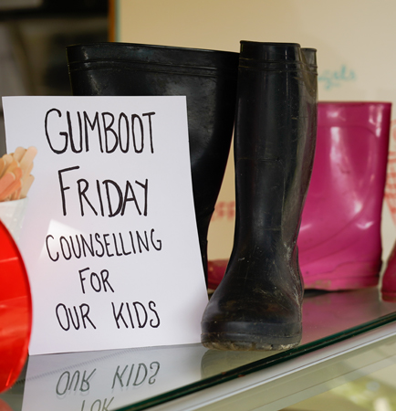 Gumboot Friday sign at a shop