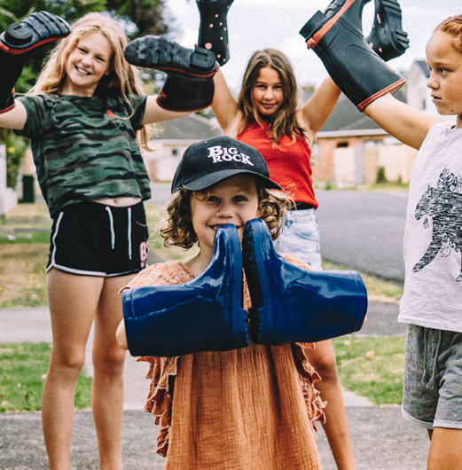Group of kids with gumboots