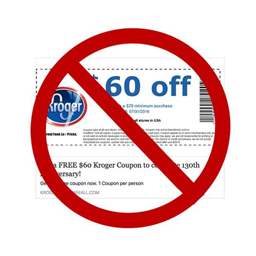 A fraudulent Kroger coupon for 60% off with prohibition sign in front.