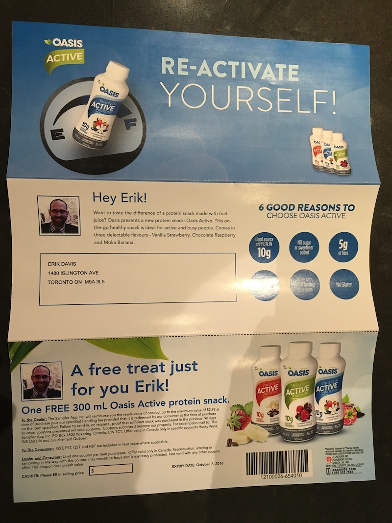 An example of a product coupon with Sampler, it is personalized and digitally targeted based on data.