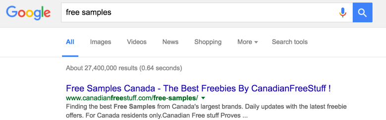 """Google Results for """"free samples"""""""