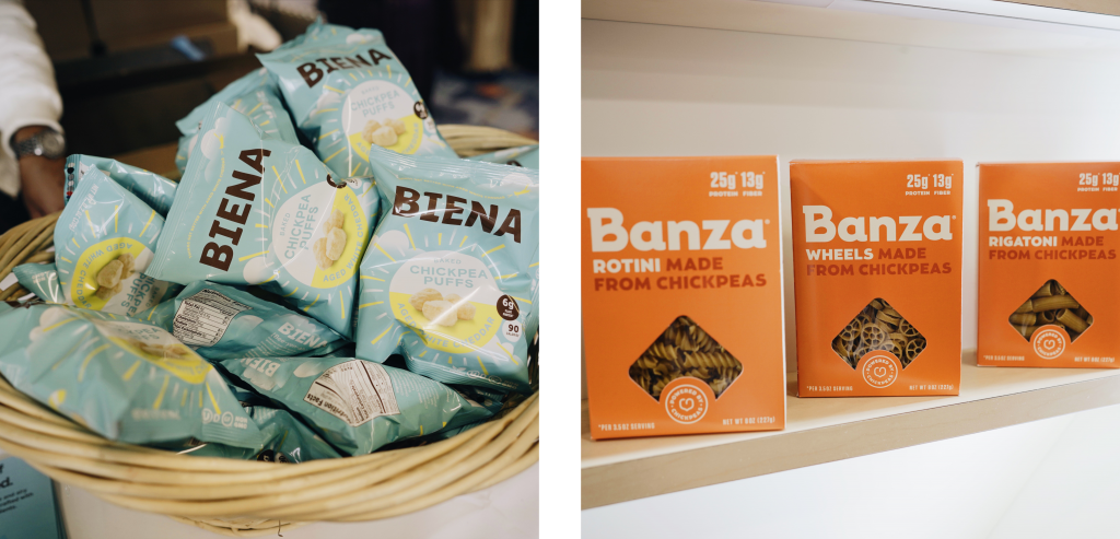 Samples of products that include chickpeas.