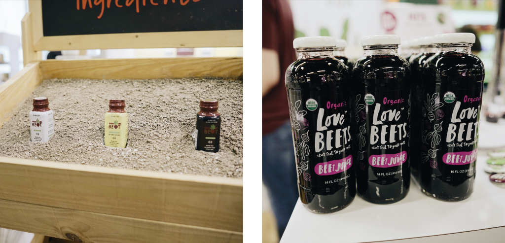 Pictured on three products samples that include beets in a box.