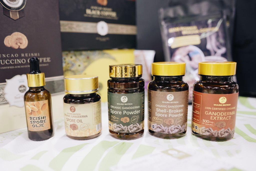 Samples of proucts that include mushrooms at Natural Products Expo.