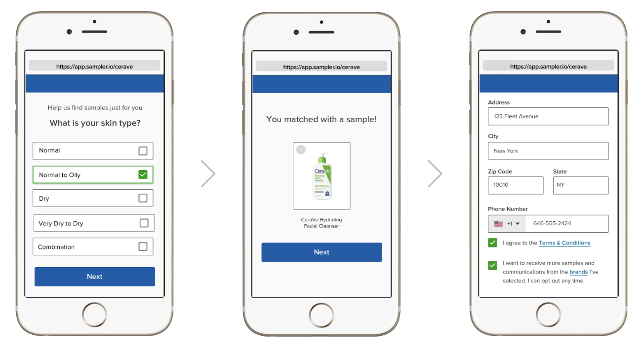 User exerperience for CeraVe and Sampler product sampling on iPhone screens.