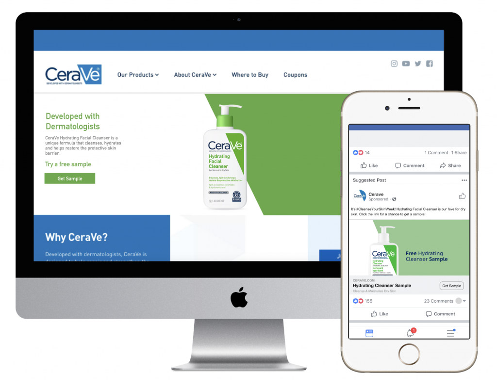 A desktop computer with CeraVe website open beside an iPhone with a CeraVe ad that includes a product sampling offer.