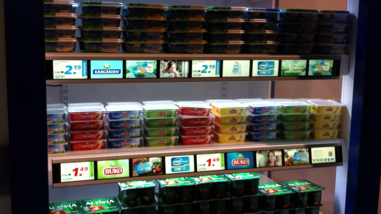 Smart shelf retail tech lablled with different brand offers