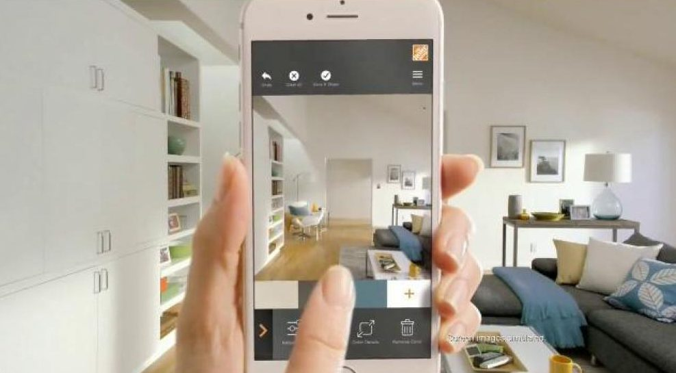 A iPhone screen showing design options for a space using augmented and virtual technology.