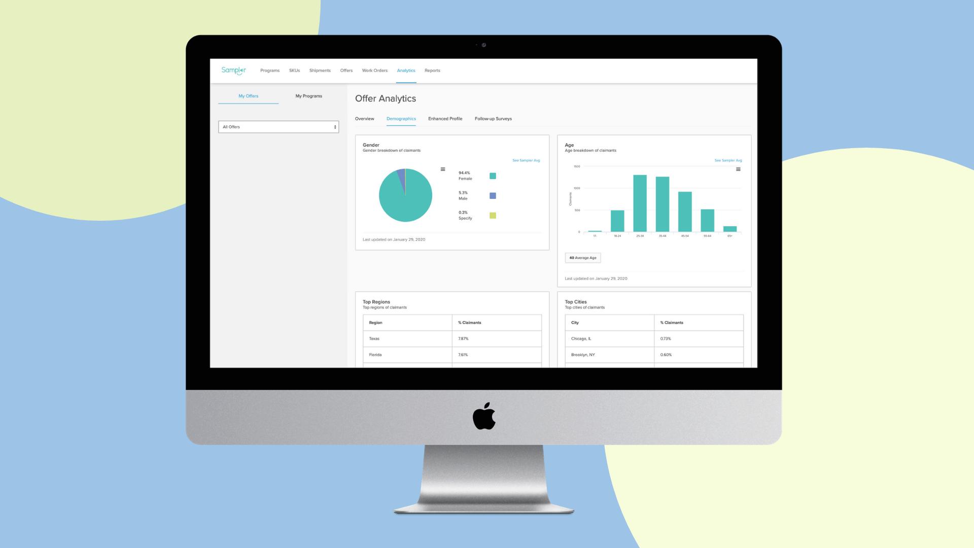 Sampler's offer analytics dashboard for digital product sampling programs