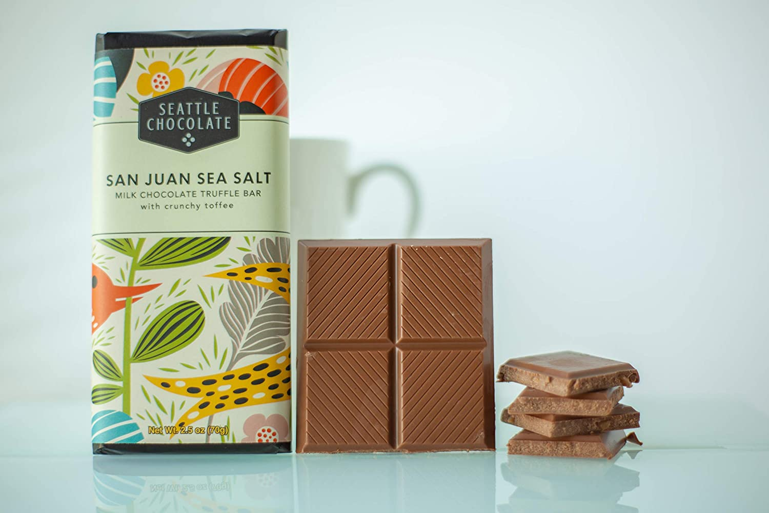 San Juan Sea Salt Chocolate product sample with packaging and without.
