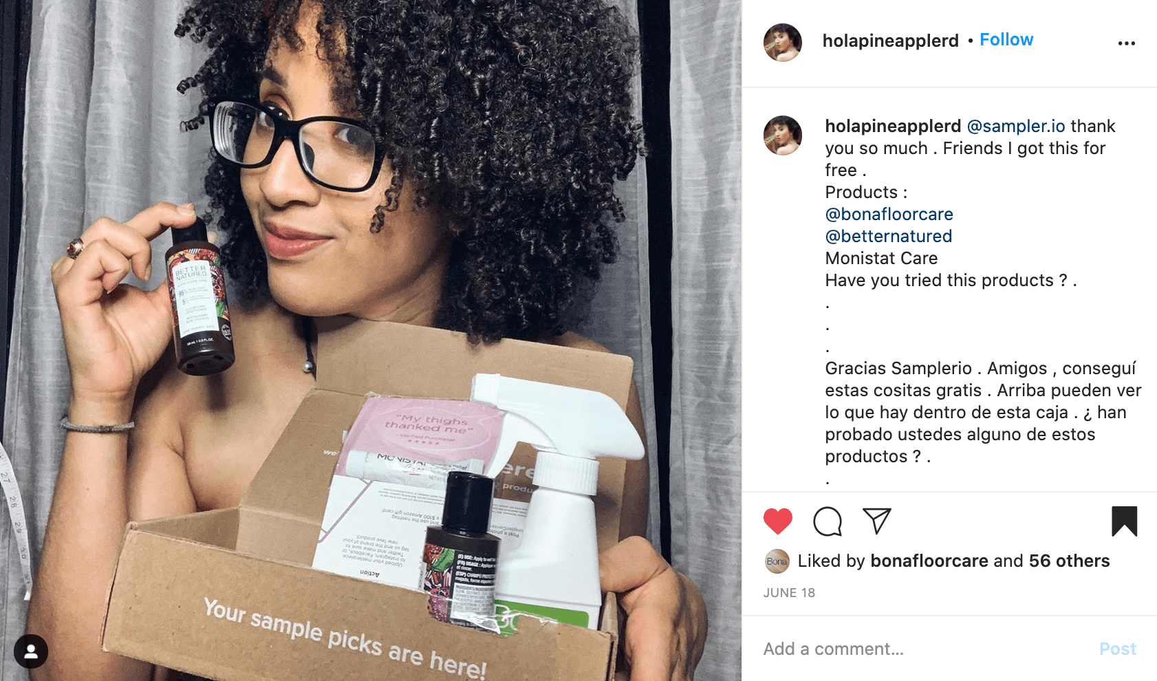 Someone holding Sampler box with the box in one hand and a product sample in the other.