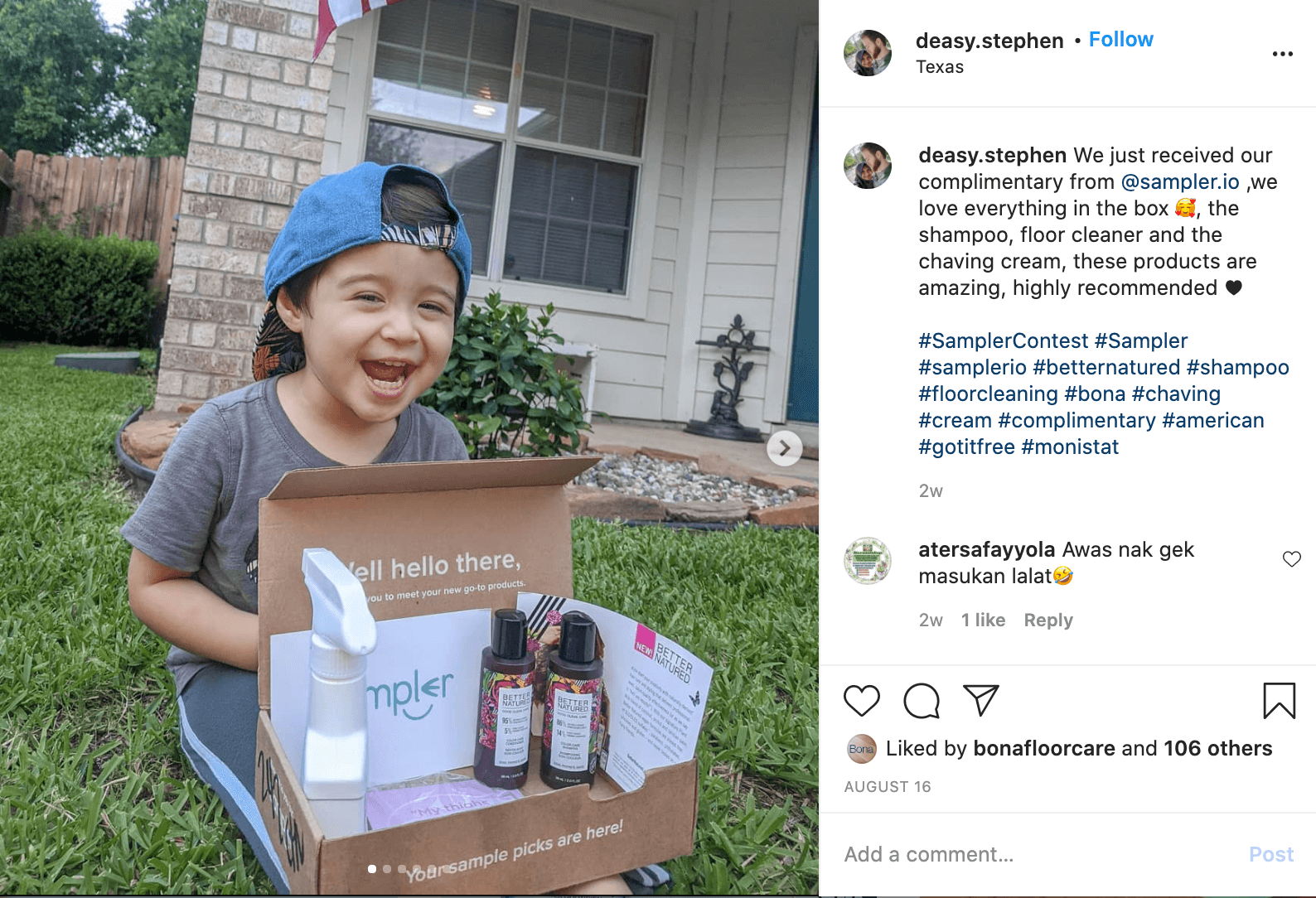 An instagram post with a child with a backwards hat on holding a Sampler box with a variety of product samples inside smiling.