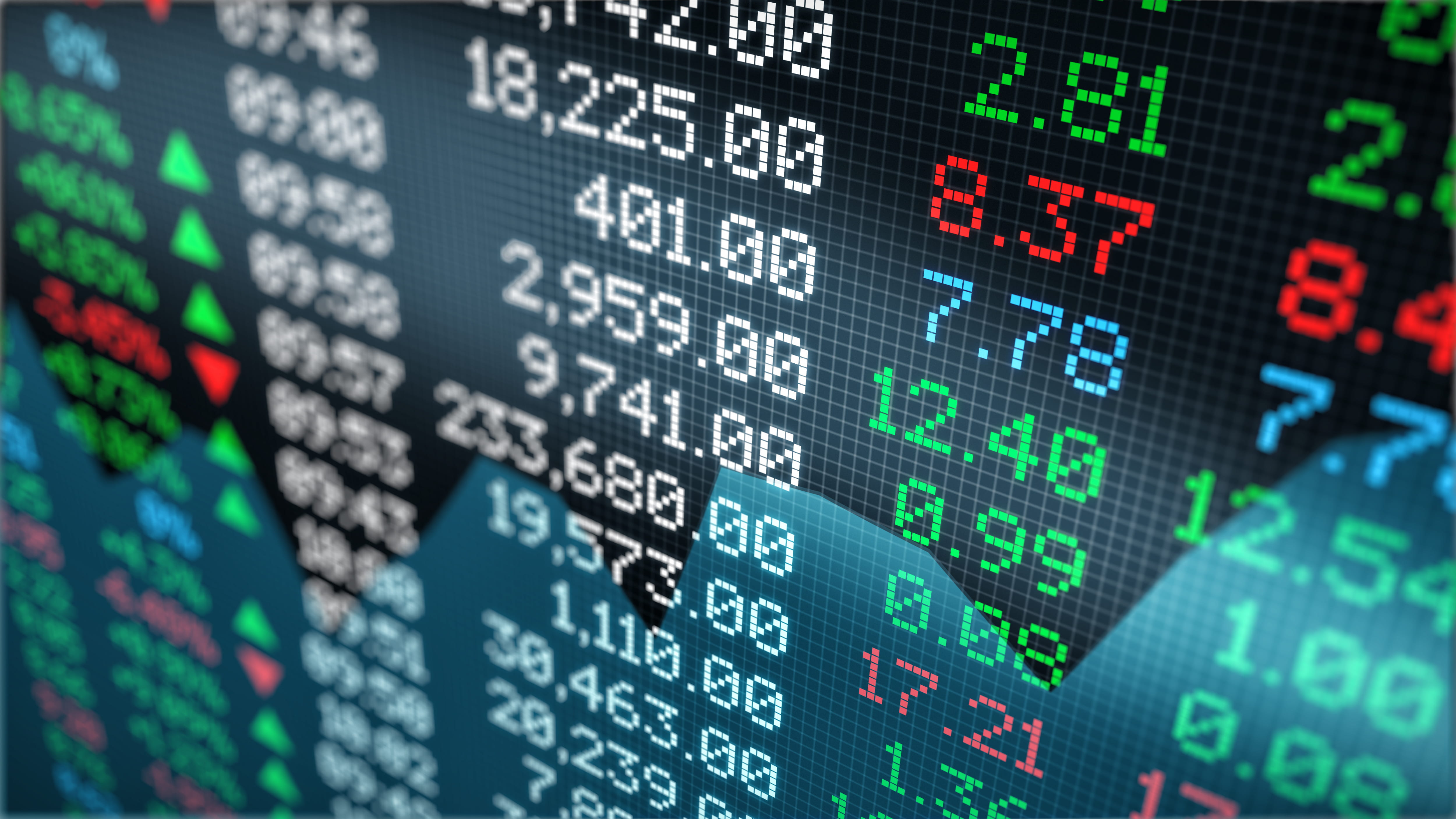 close-up view of a stock market data board